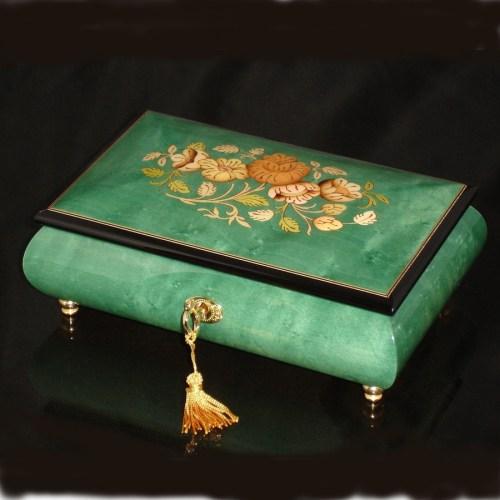 Italian Inlaid Musical Jewelry Box 02CF Green black trim