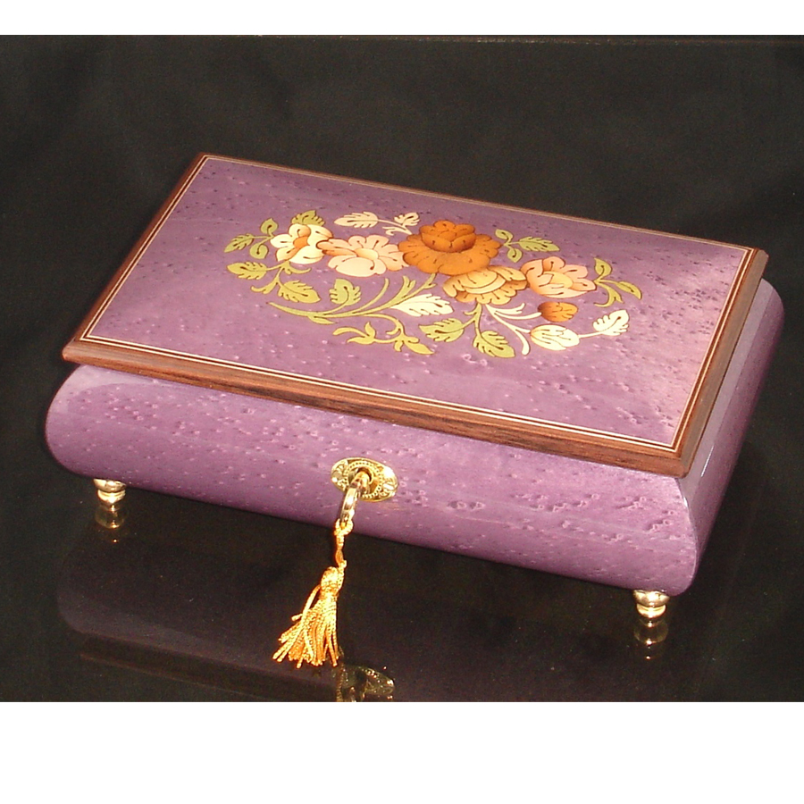 Italian Inlaid Musical Jewelry Box 02CF Plum