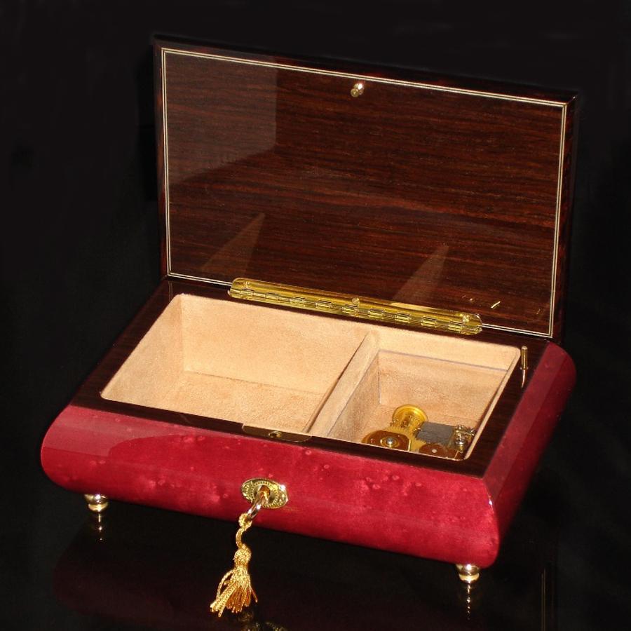 Italian Inlaid Musical Jewelry Box 02CF Wine Red opened no cover