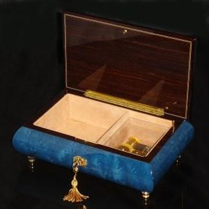 Italian Inlaid Musical Jewelry Box 02CVM Dark Blue opened no cover