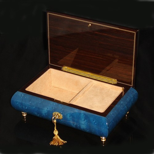 Italian Inlaid Musical Jewelry Box 02CVM Dark Blue opened