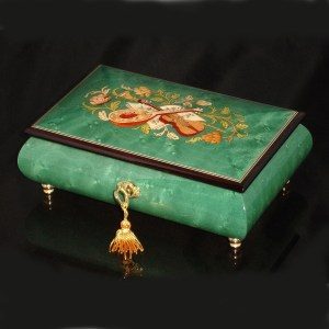 Italian Inlaid Musical Jewelry Box 02CVM Green