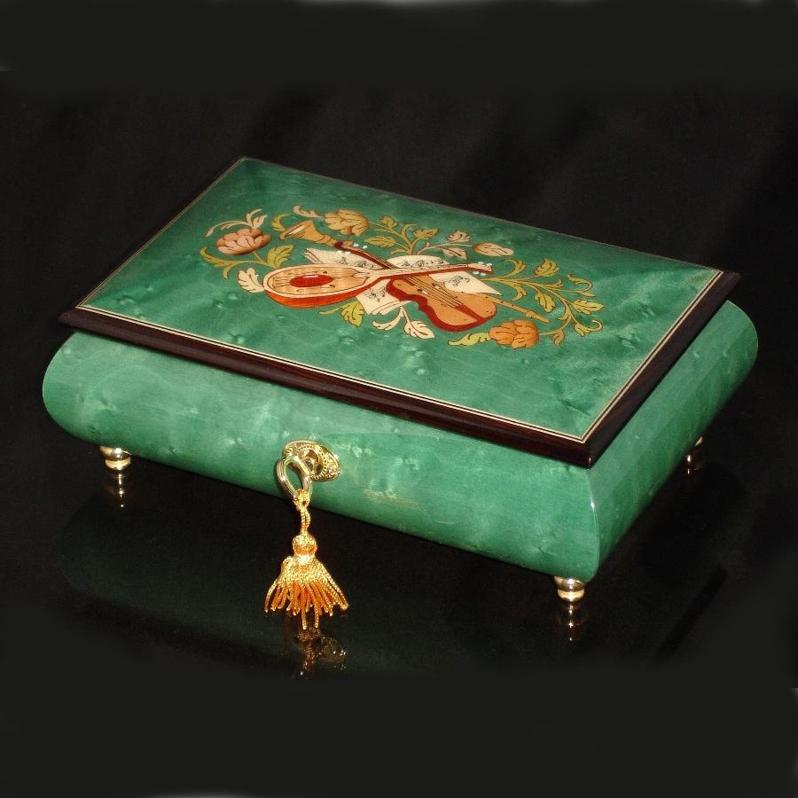 Italian Inlaid Musical Jewelry Box 02CVM Green