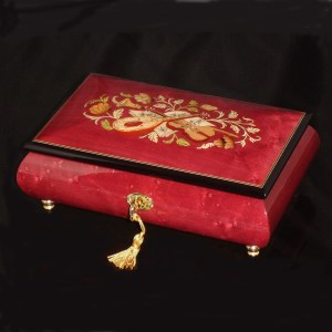Italian Inlaid Musical Jewelry Box 02CVM Wine Red