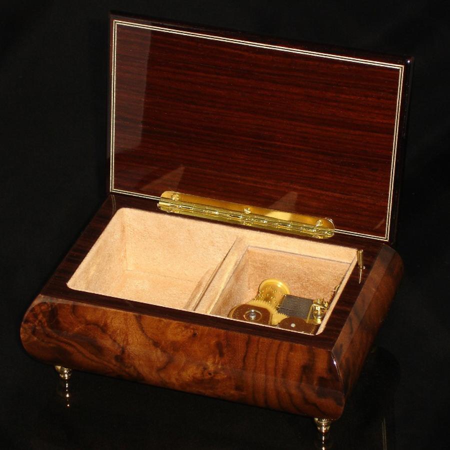 Italian Jewelry Box Walnut 04A opened no cover