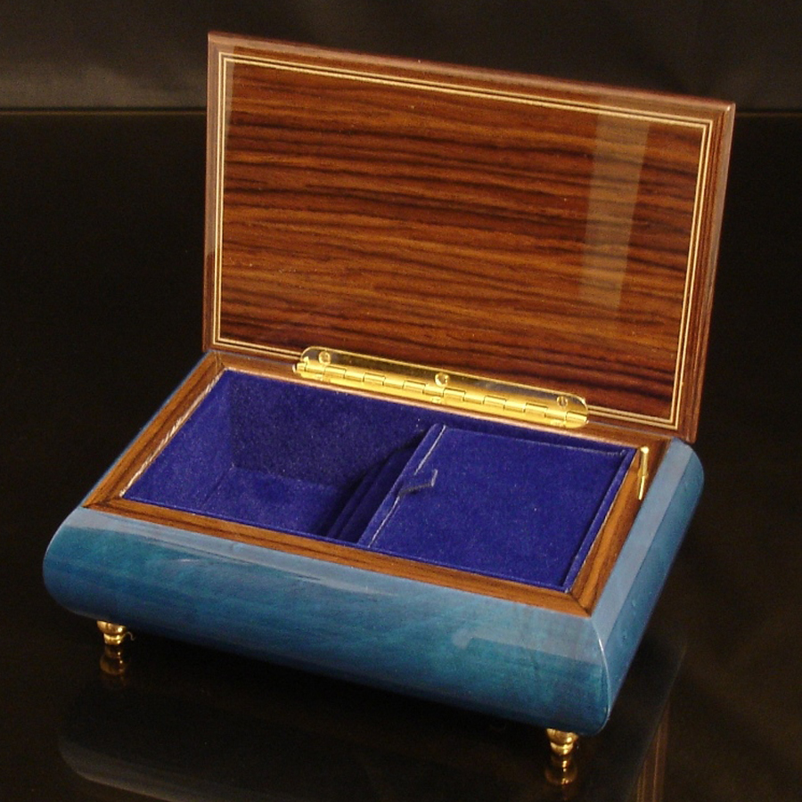 Italian Jewelry Box Dark Blue 04A opened