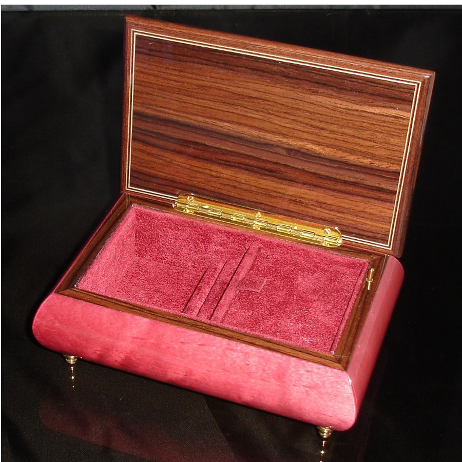 Italian Jewelry Box Wine Red 04A opened