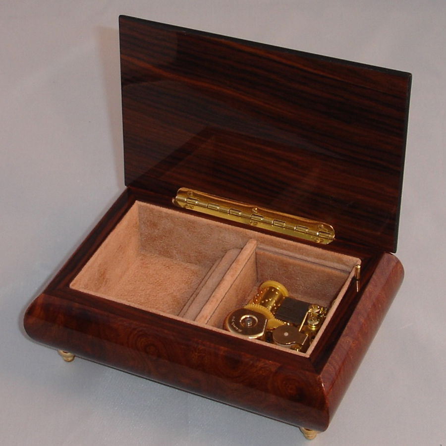 Italian Jewelry Box Burl Elm 04CO opened no cover