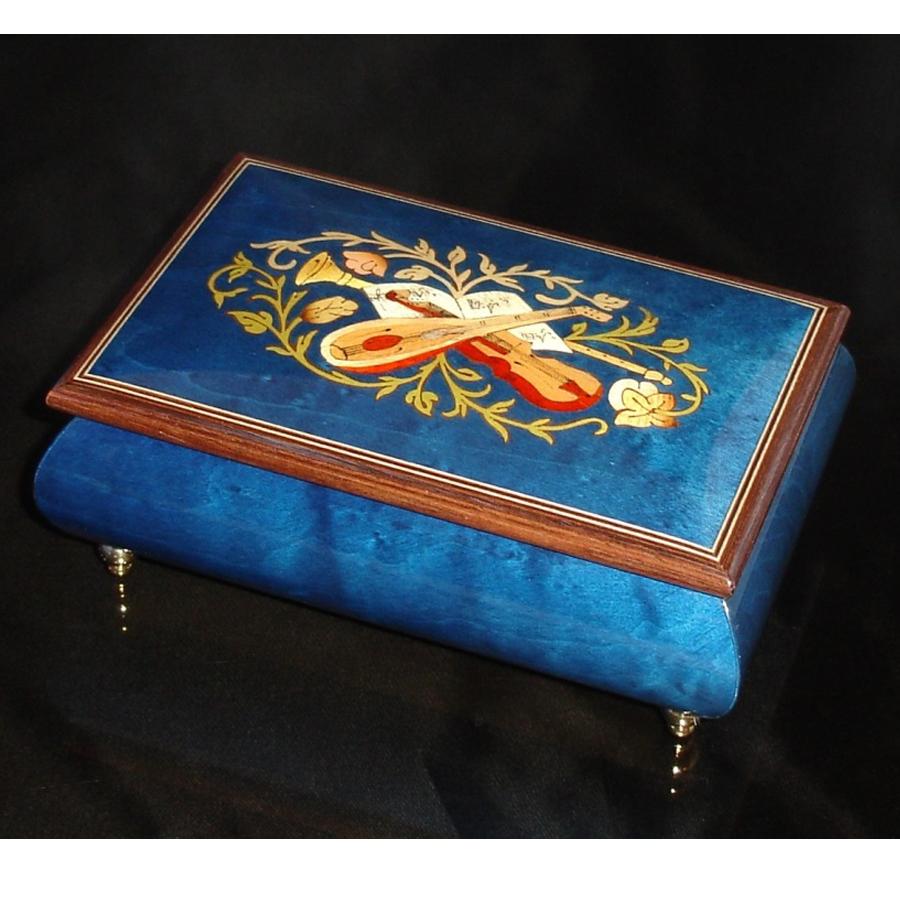 Italian Inlaid Musical Jewelry Box 04CF Dark Blue