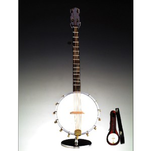 Miniature Banjo with stand and case