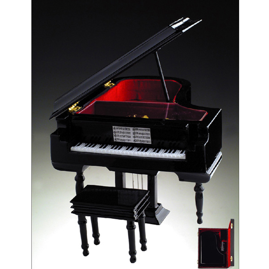 Miniature Black Grand Piano musical jewelry box with case