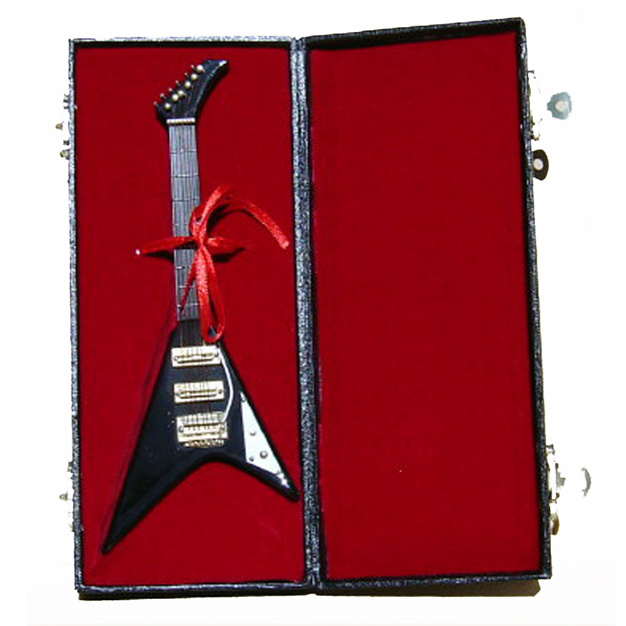 Miniature Black Rock Guitar with case GO6-B