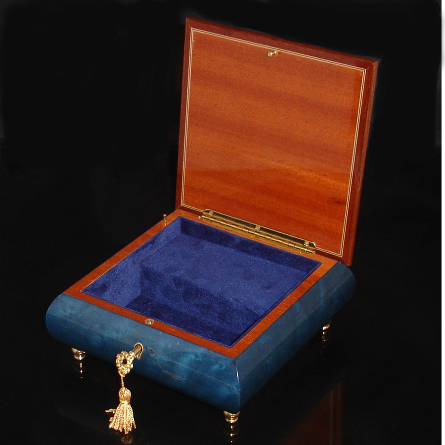 Italian Jewelry Box opened Blue with Menorah
