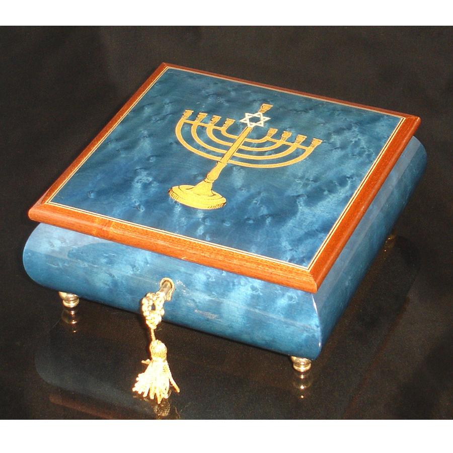 Italian Jewelry Box Blue with Menorah