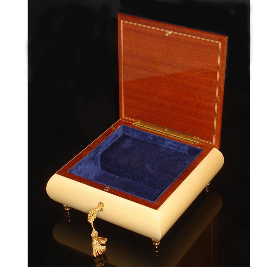 Italian Jewelry Box opened White with Menorah