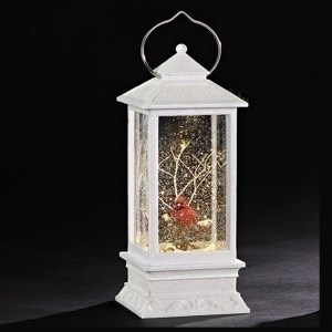Large lighted white lantern with Cardinal and swirl glitter inside