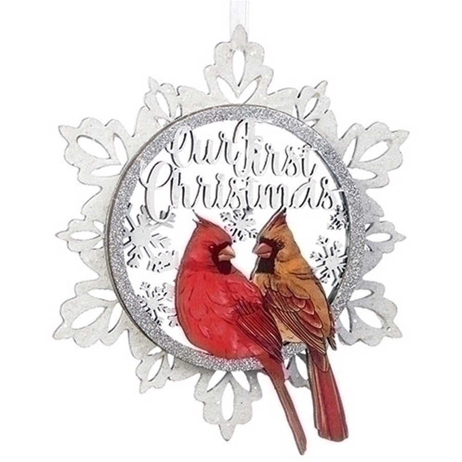 Ornament Cardinals in Snowflake