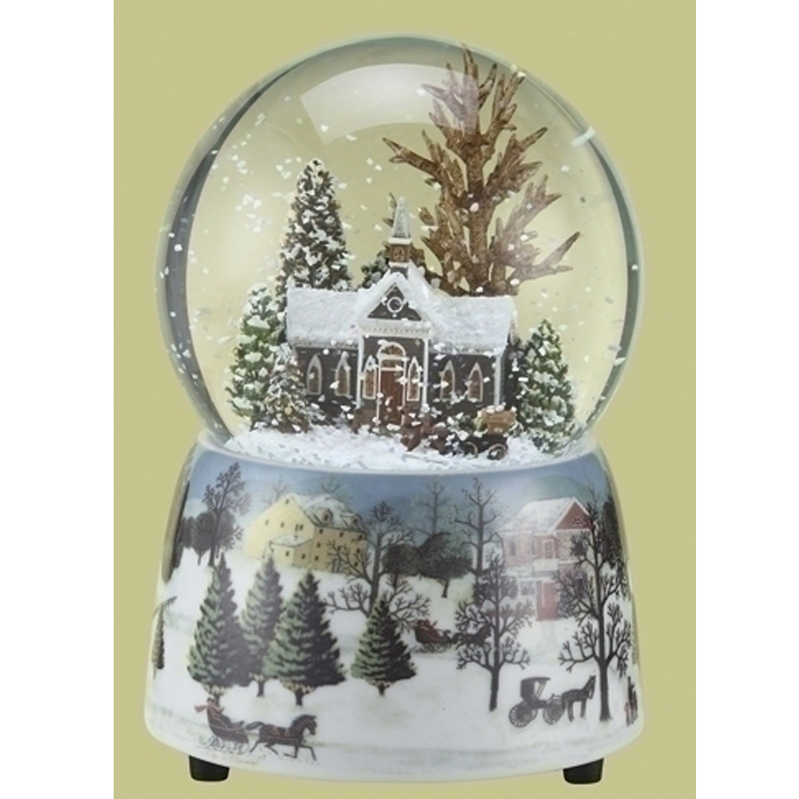 Brown Church snow globe with a musical winter scene porcelain base