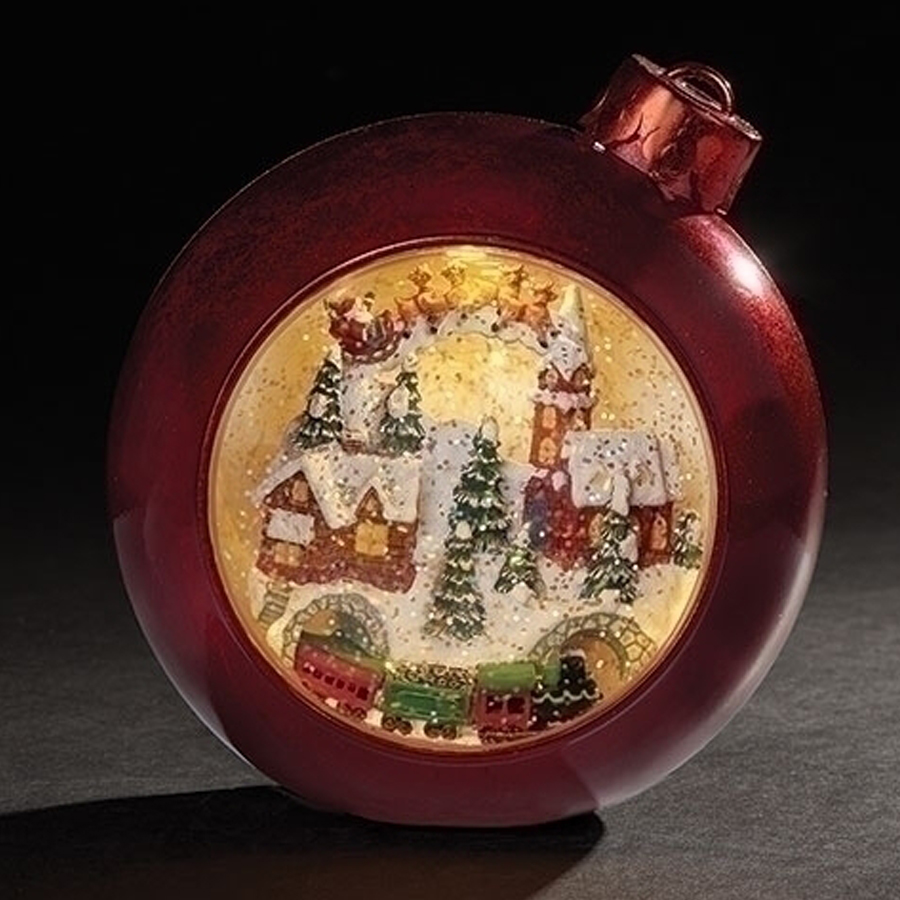 Extra Large Christmas scene inside a red ornament water ball musical