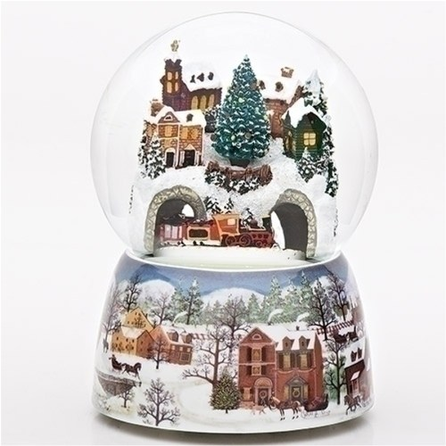 Larger water globe with a revolving train under a snow covered village