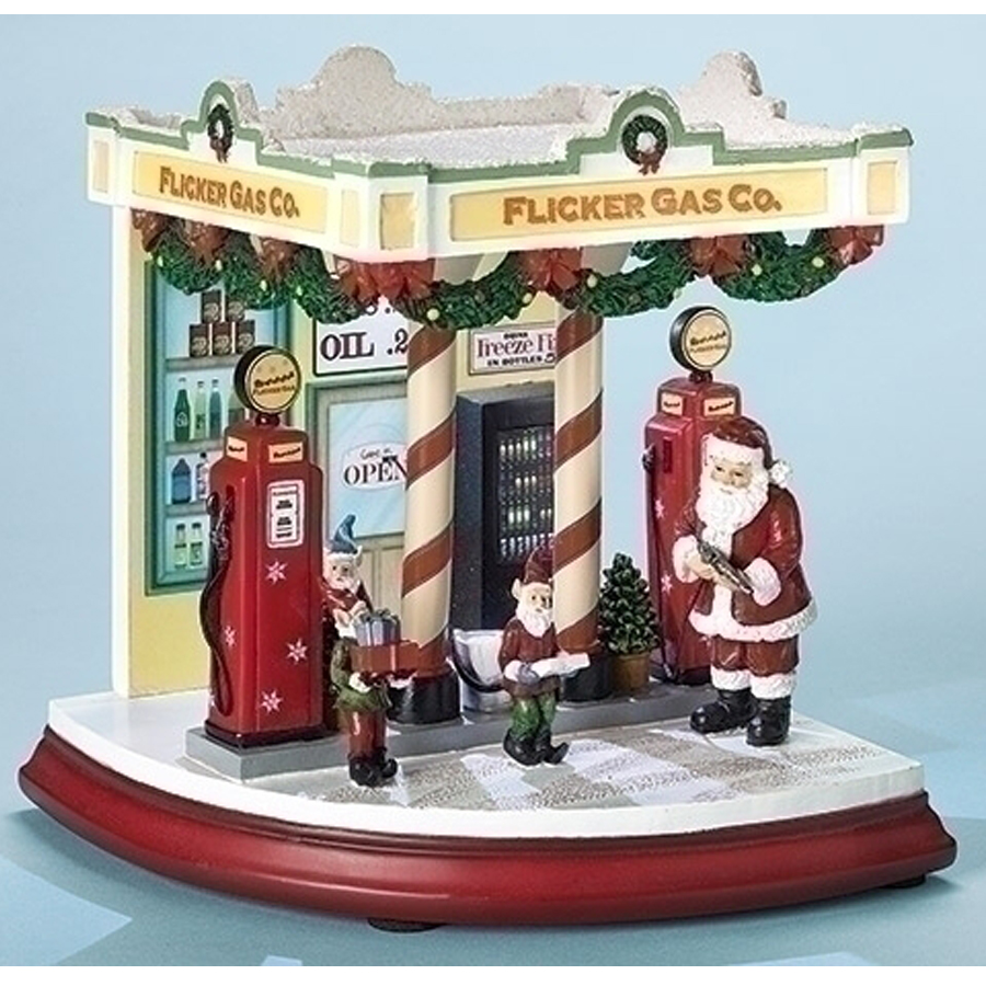 Santa and Elves Musical Gas Station scene