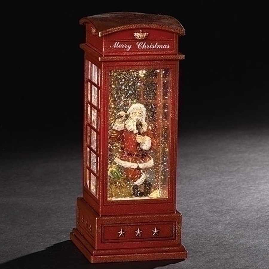 Santa is inside this retro phone booth that lights up and has automatic swirl glitter