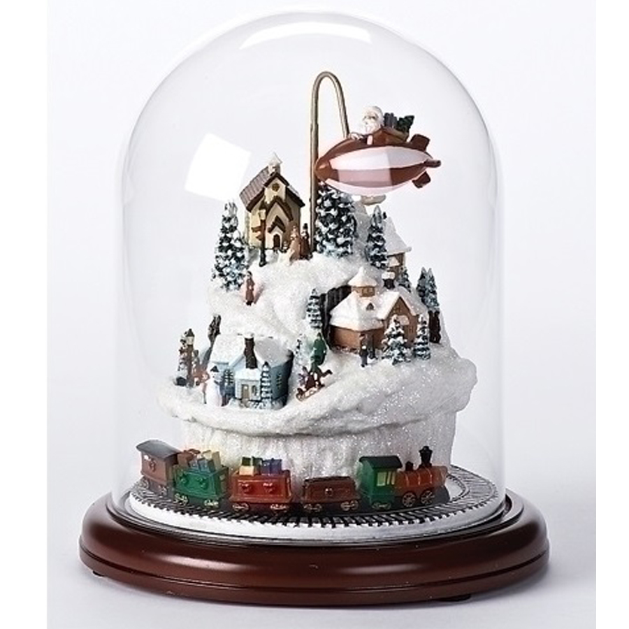 Large Christmas Dome with revolving train and Santa revolving over a village musical