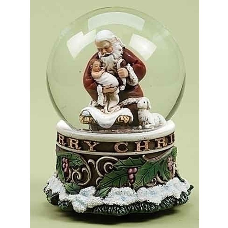 Santa holding baby Jesus musical globe green base