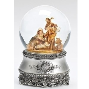 Nativity musical globe with silver base