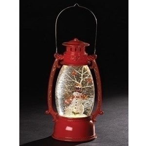 Christmas Lighted Lantern in red with snowman and cardinals inside. Automatic swirl action for the glitter