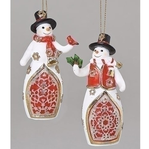 Ornament Snowman Laser Cut in Red