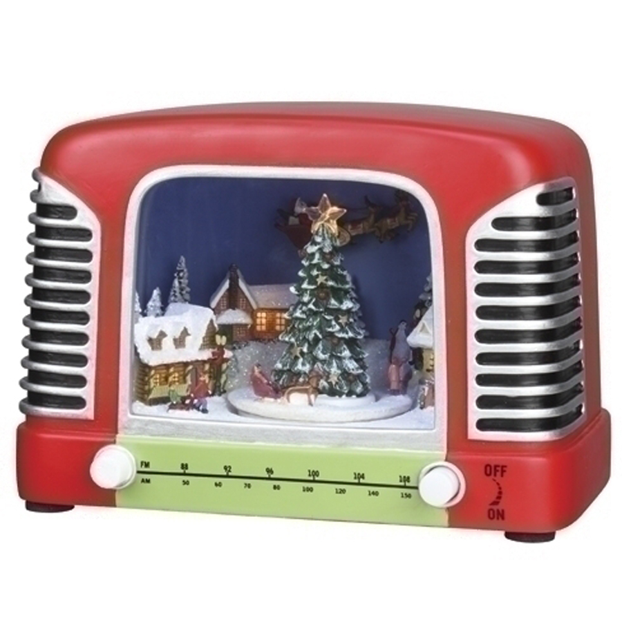 Retro Radio with lighted musical Christmas scene inside