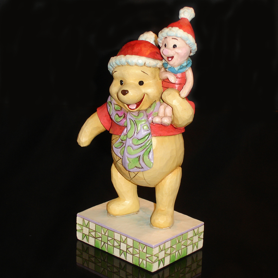 Christmas Pooh and Piglet by Jim Shore angle view