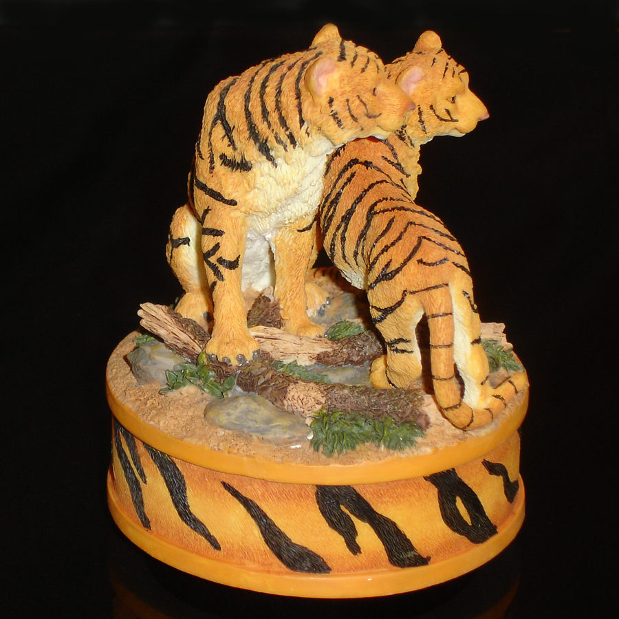 tigers music box figurine right side view