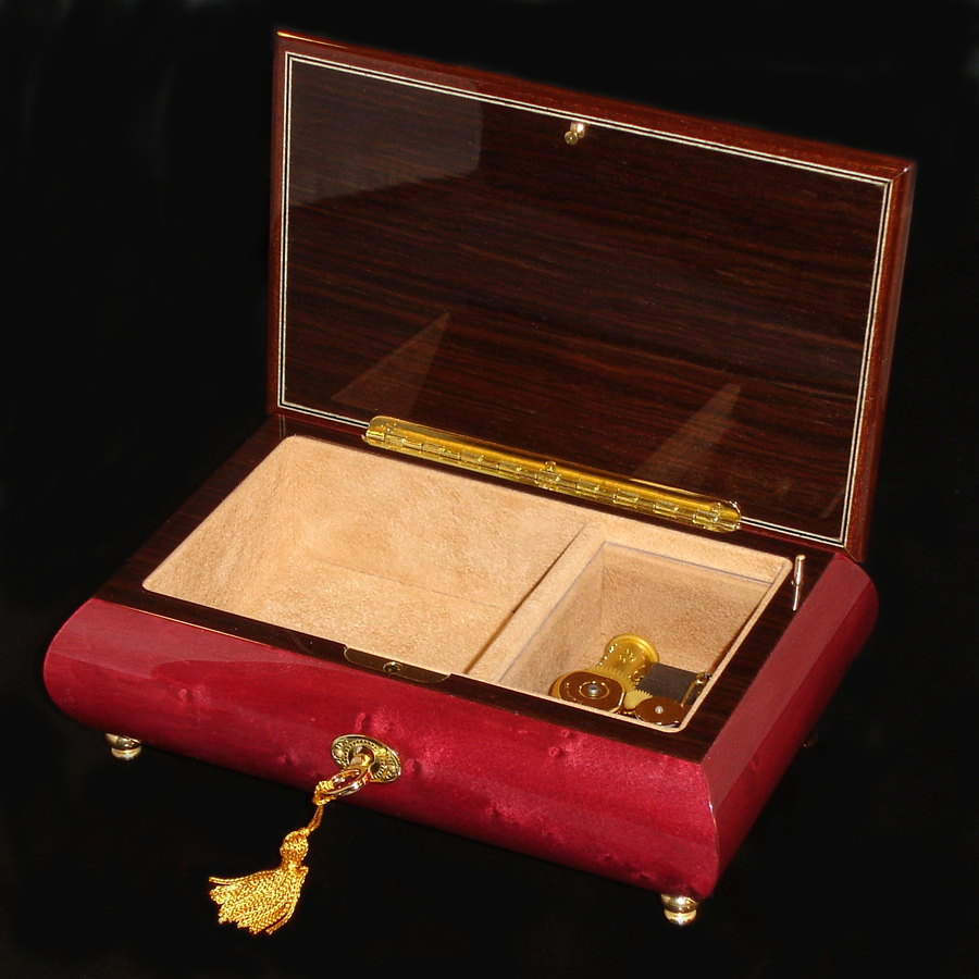 Italian-Musical-Jewelry-Box-02A-Wine-Red-opened-no-cover