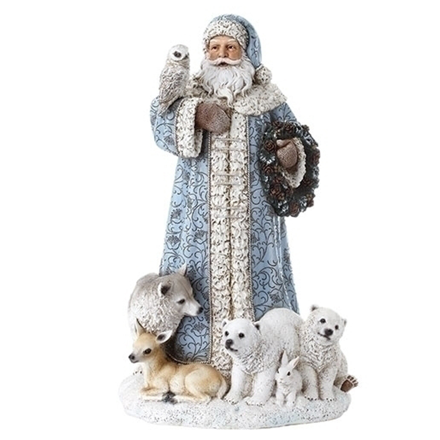 Blue-Santa-with-Animals-Figurine