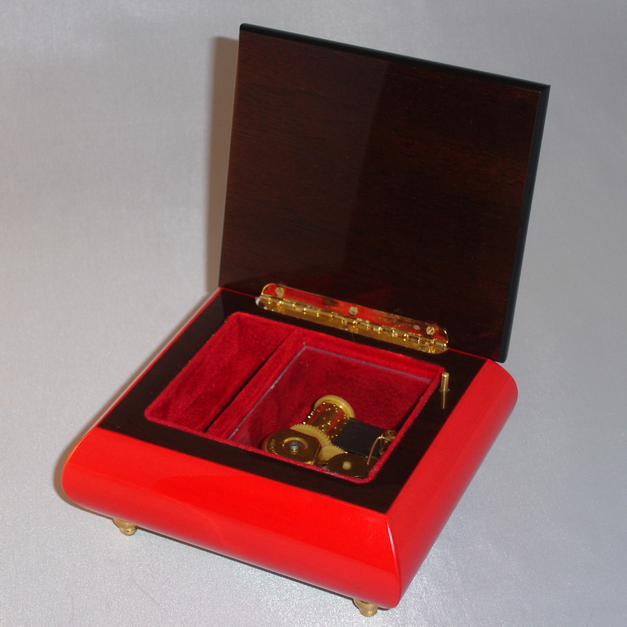Italian Jewelry Box 17CC-Red-opened-no-cover