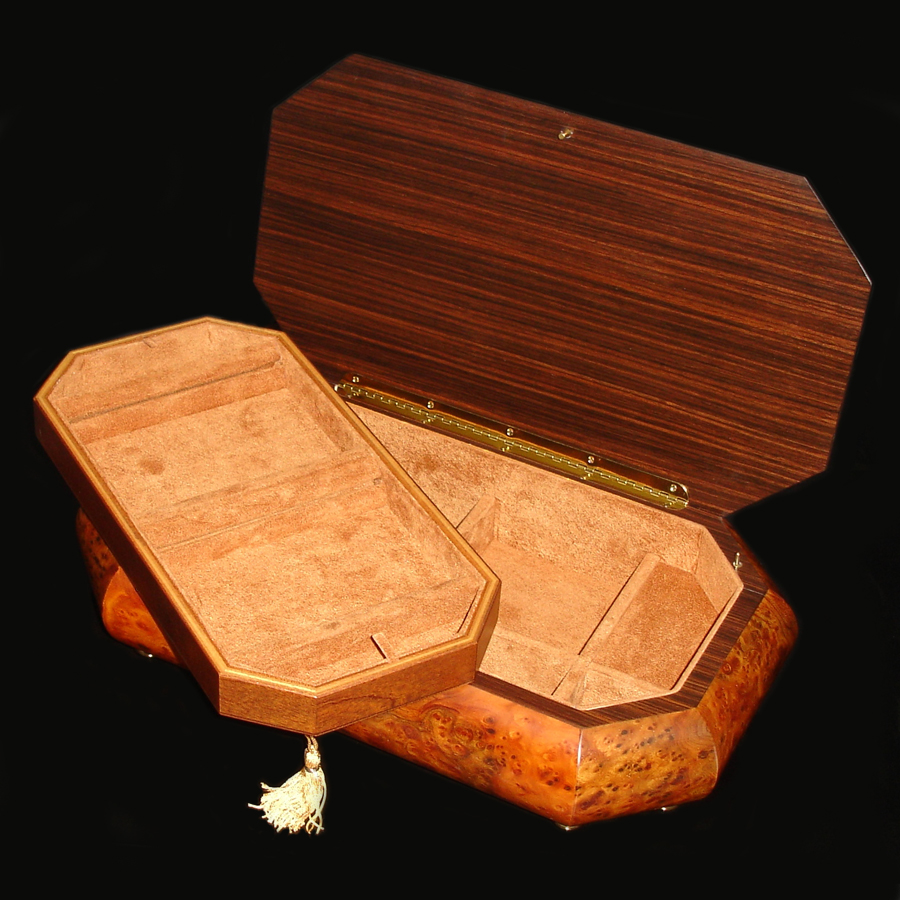 Italian-Inlay-Jewelry-Box-Rosewood-Tray-Out