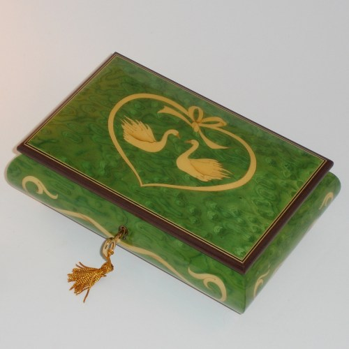 Italian-Inlay-Swans-and-Heart-Green-top-view