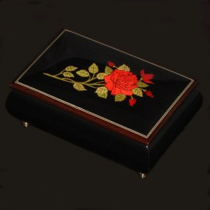 Italian-Inlay-Musical-Jewelry-Red-Rose-Black