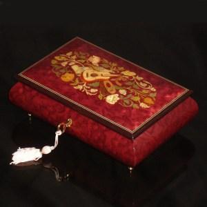 Italian-Inlay-Musical-Jewelry Box-Magenta
