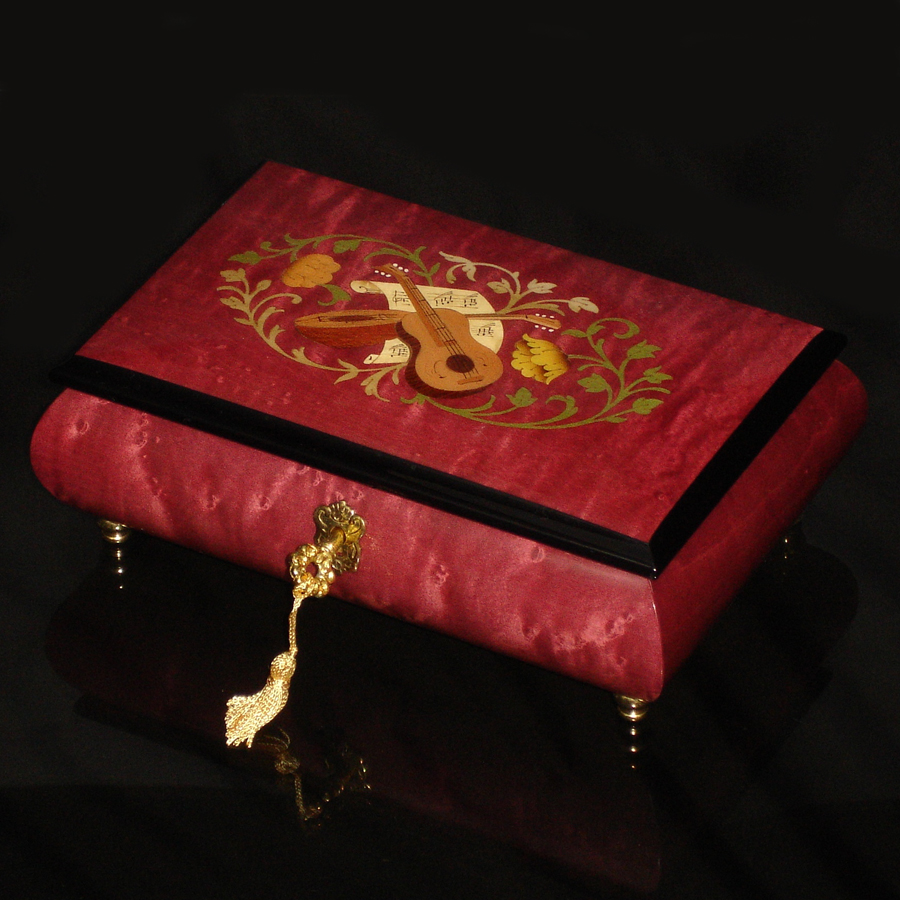 Italian-Inlay-Musical-Jewelry-Box-Rosso