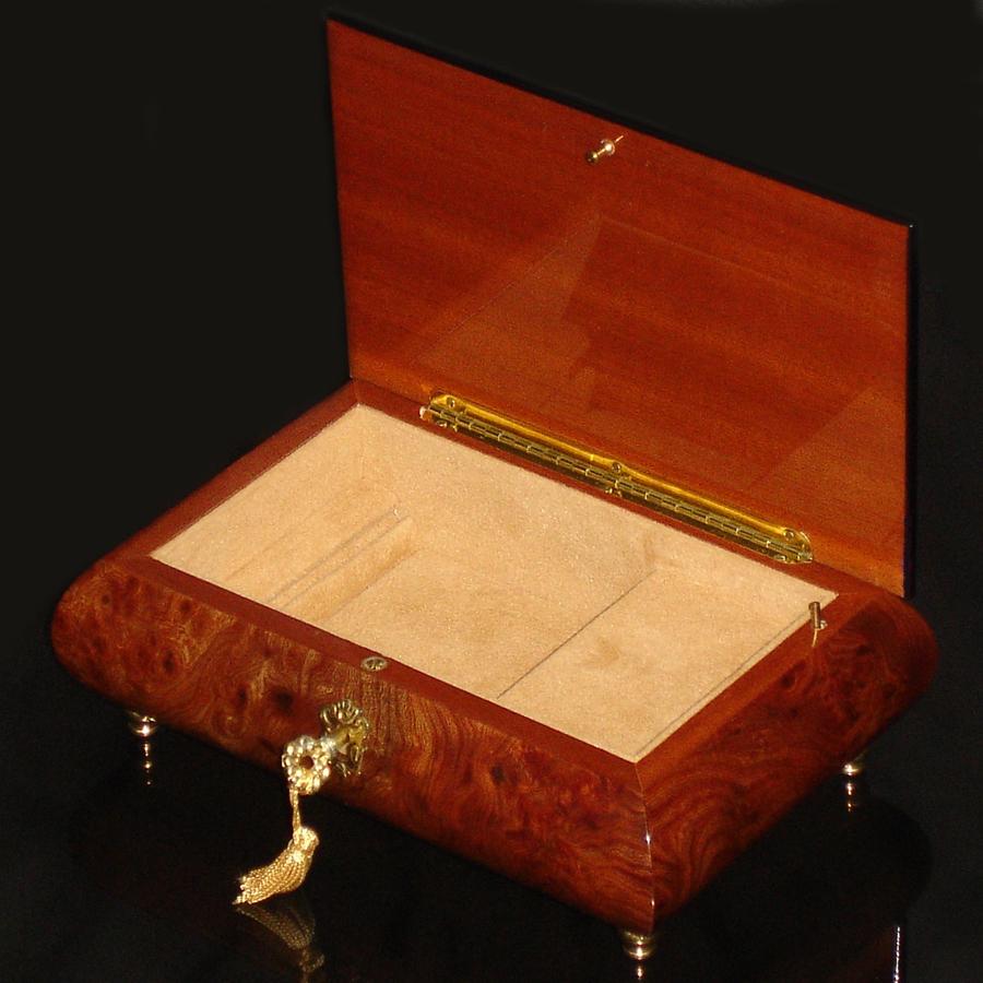 Italian-Inlay-Musical-Jewelry-Box-Burl-Elm-open