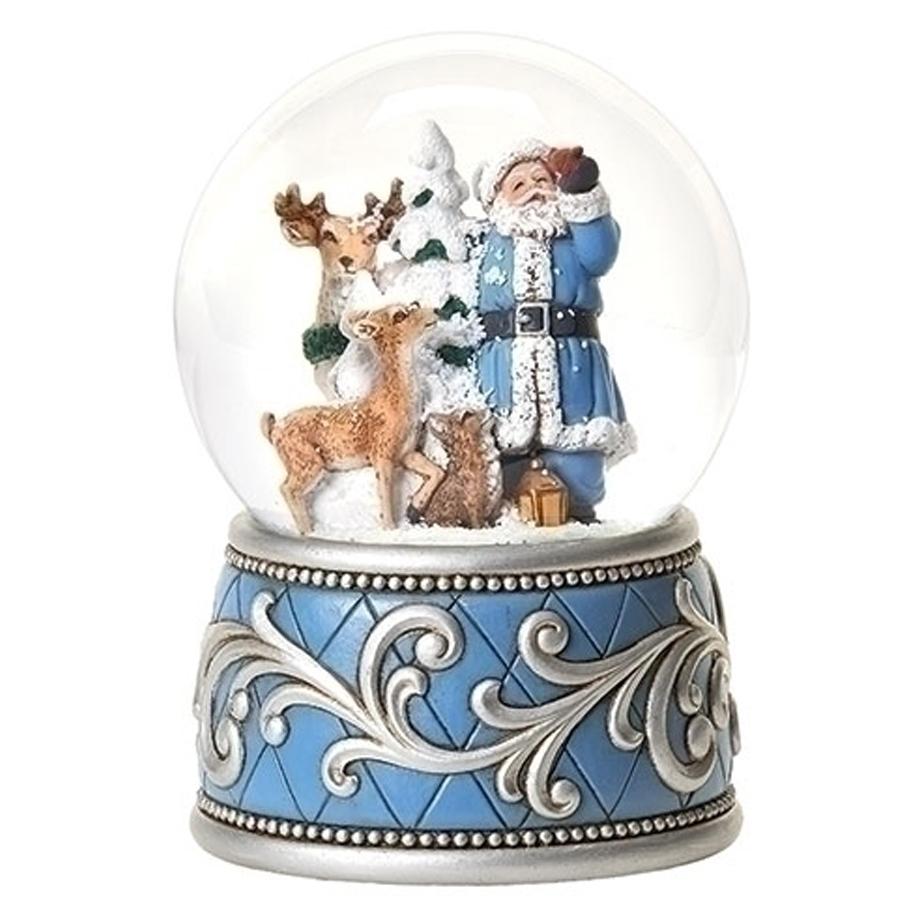Blue-Santa-and-Animals-Snow-Globe