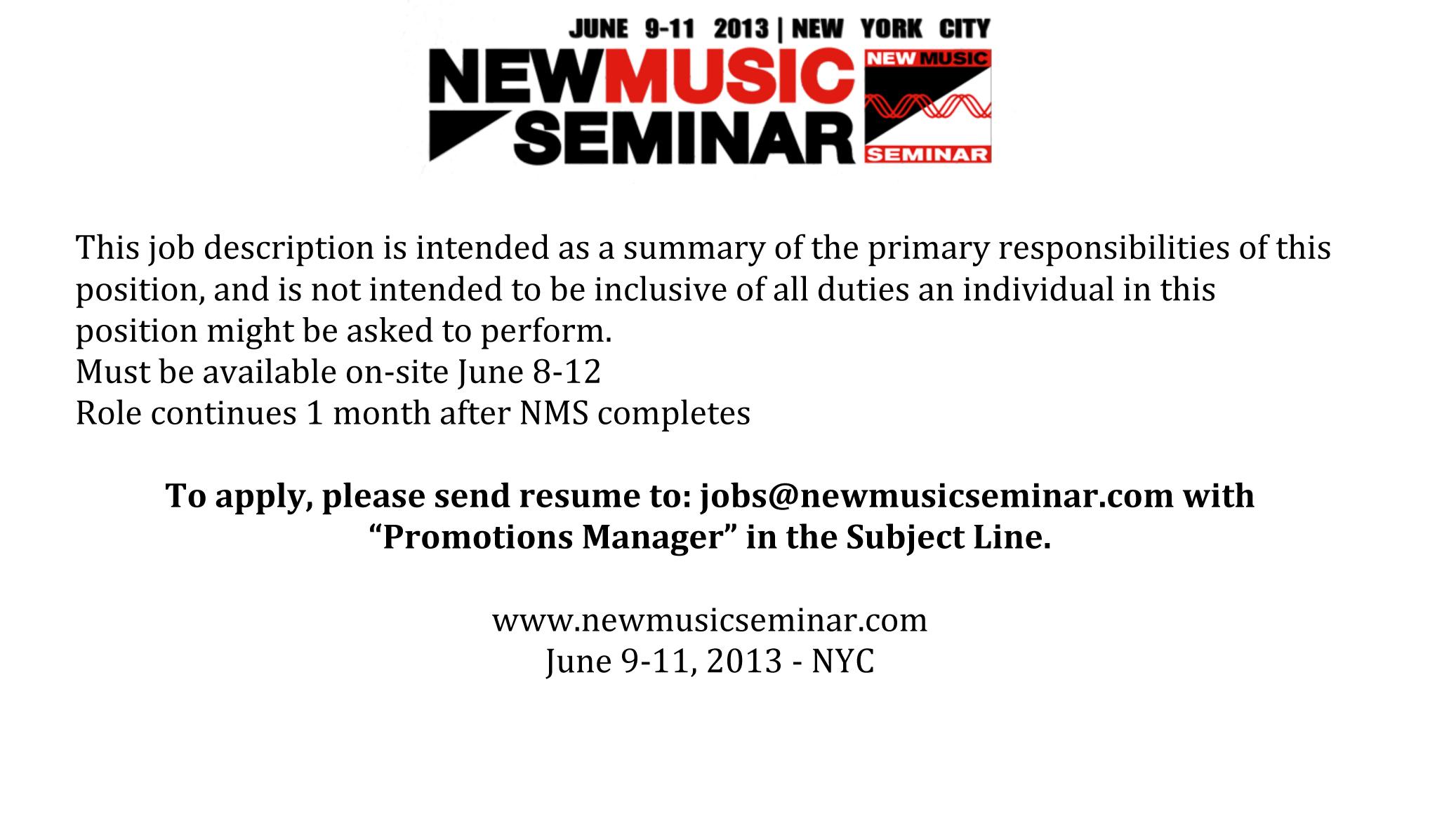 Music Manager Job Description