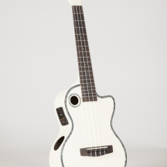 Riptide Ukuele, Tenor White Cutaway Acoustic-Electric ECUT-5WH