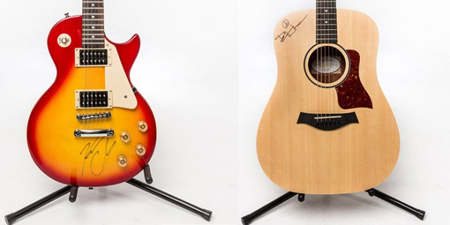 Kenny Chesney & Dave Matthews signed guitars