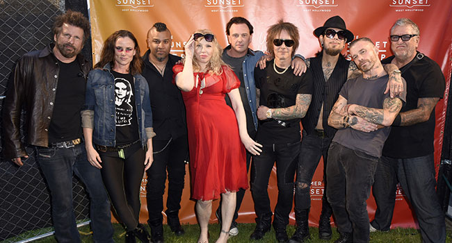 Paul Trudeau, Juliette Lewis, Erik Eldenius, Courtney Love, Donovan Leitch, Billy Morrison, Dave Navarro, Jason Christopher, and Steve Jones attend the Summer on Sunset Music and Event Series on June 22, 2019 in Hollywood, California. (Photo by Vivien Killilea/Getty Images for West Hollywood Travel + Tourism Board)