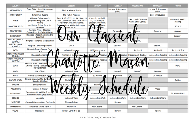 Our Classical Charlotte Mason Weekly Schedule