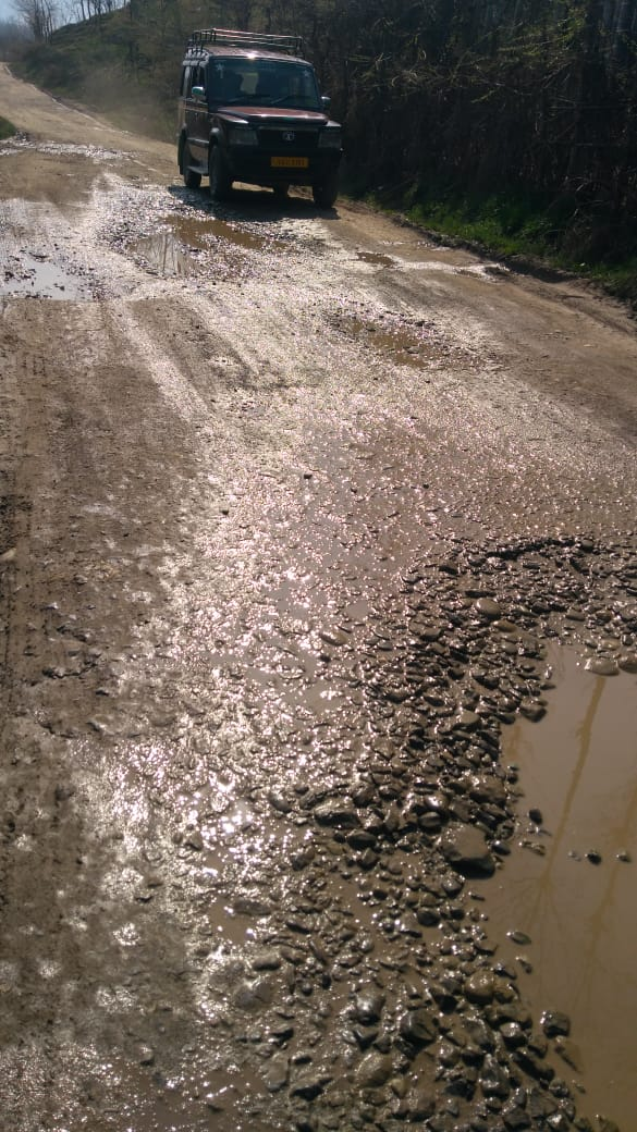 Depilated road, craters, with no repairs in 12 years, force villagers to appeal DC Shopian